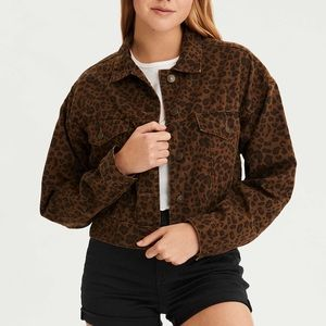 Cheetah Cropped Jean Jacket